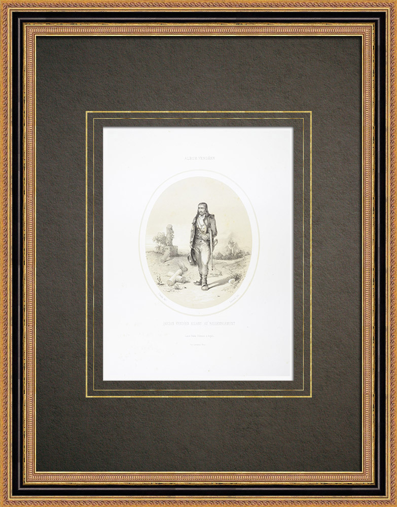 Gravures Anciennes & Dessins | Paysan vendéen allant au rassemblement (1793) | Lithographie | 1860