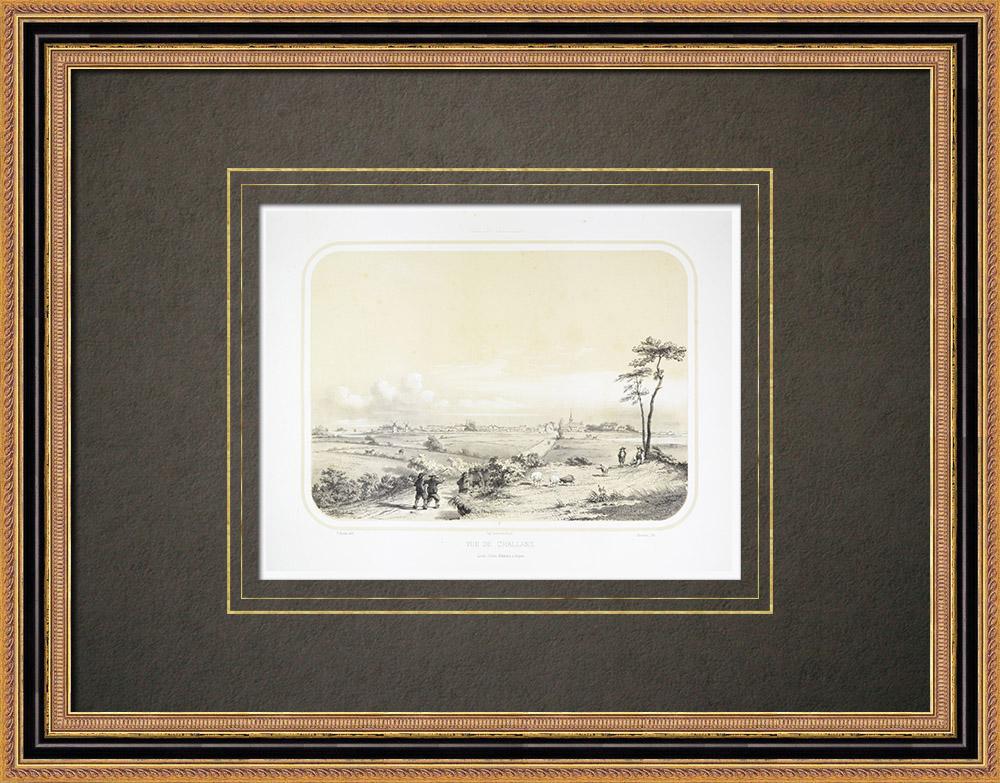 Oude Prenten & Tekeningen | Gezicht op Challans - Vendée (Frankrijk) | Lithografie | 1860
