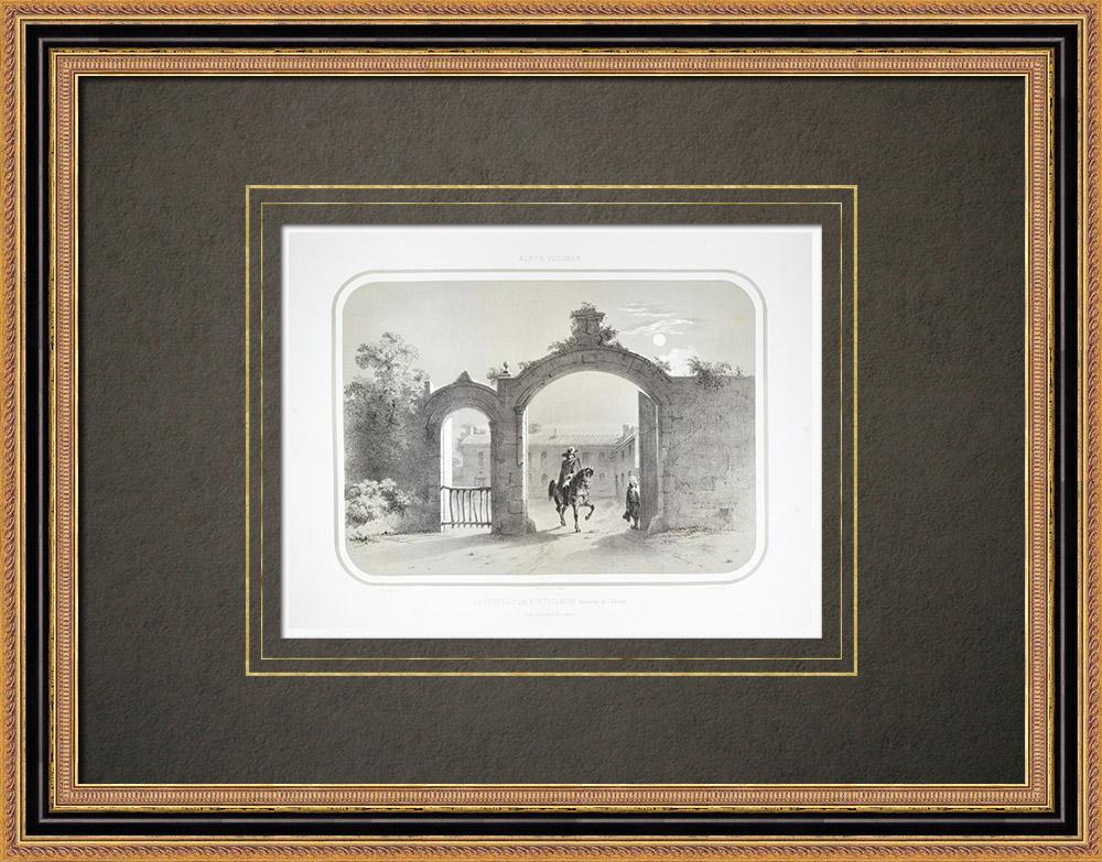 Gravuras Antigas & Desenhos | Castelo Fonteclose - Casa de Charette - La Garnache - Vendéia (França) | Litografia | 1860