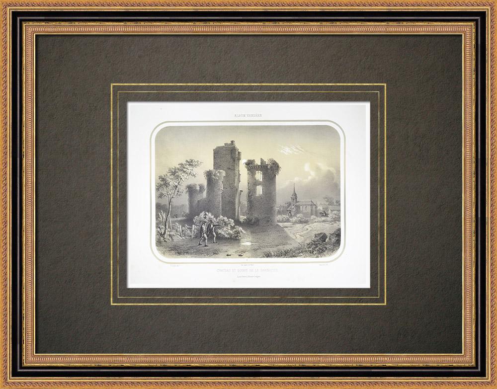 Gravures Anciennes & Dessins | La Garnache - Château ancien et bourg - Vendée (France) | Lithographie | 1860