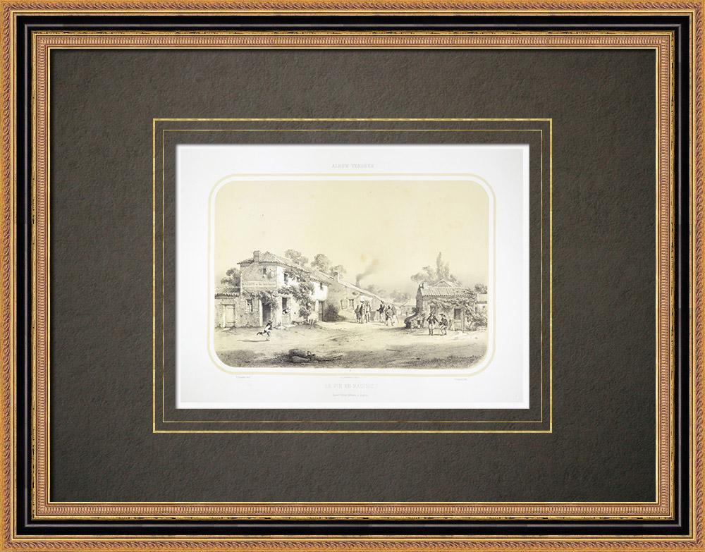 Stare Grafiki & Rysunki | Le Pin-en-mauges - Maine-et-loire (Francja) | Litografia | 1860