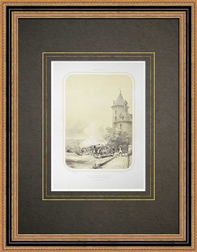 Gravures Anciennes & Dessins | Prise du Château de Jallais - Guerre de Vendée (13 mars 1793) | Lithographie | 1860