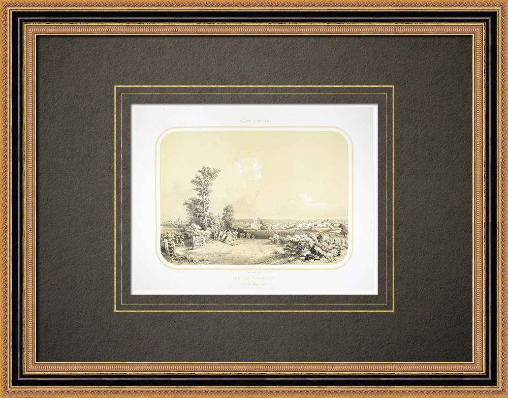 Antique Prints & Drawings | View of Chemillé - Anjou - Maine-et-Loire (France) | Lithography | 1860