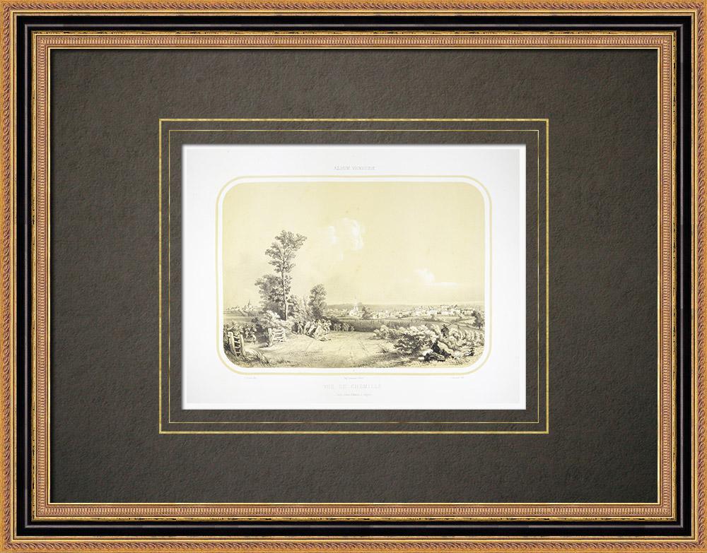 Antique Print & Etching | Ansicht von Chemillé - Anjou - Maine-et-Loire (Frankreich) | Lithografie | 1860
