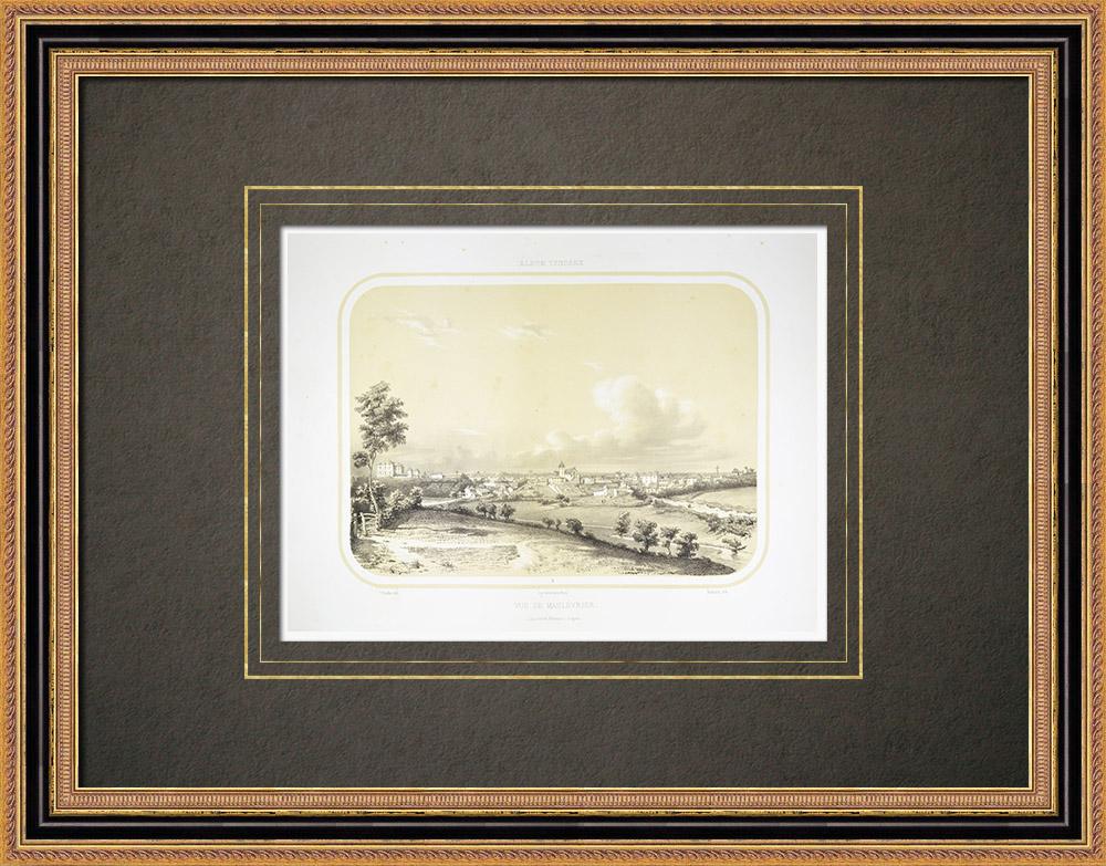 Antique Print & Etching   Ansicht von Maulévrier - Maine-et-Loire (Frankreich)   Lithografie   1860