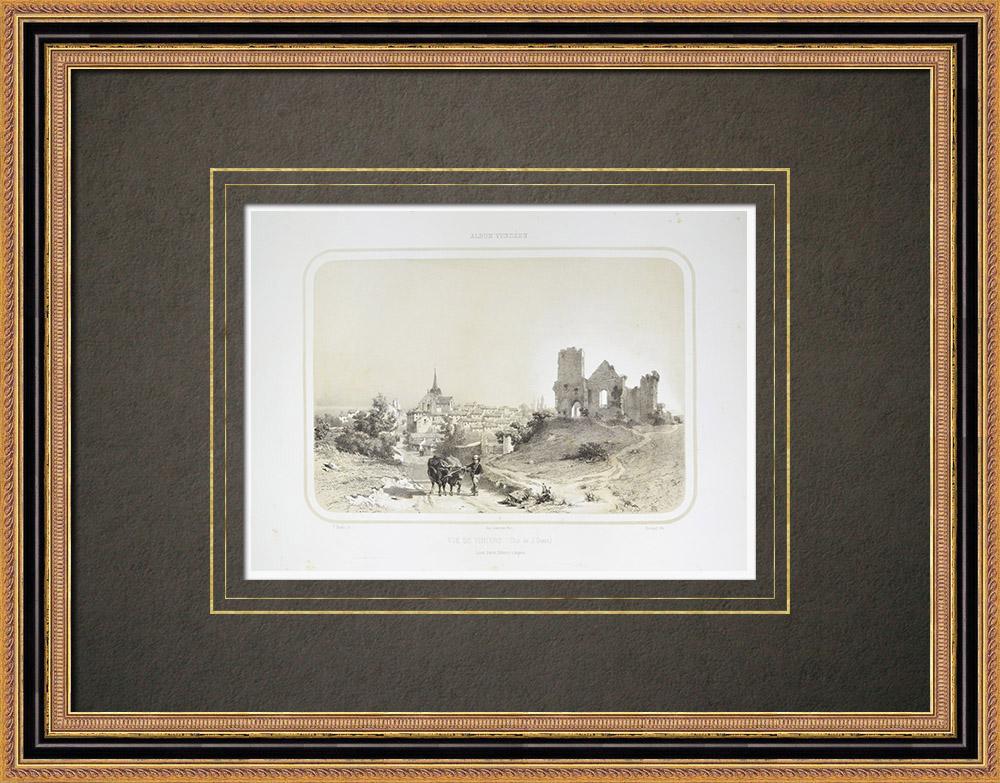 Antique Prints & Drawings | View of Vihiers - Maine-et-Loire (France) | Lithography | 1860