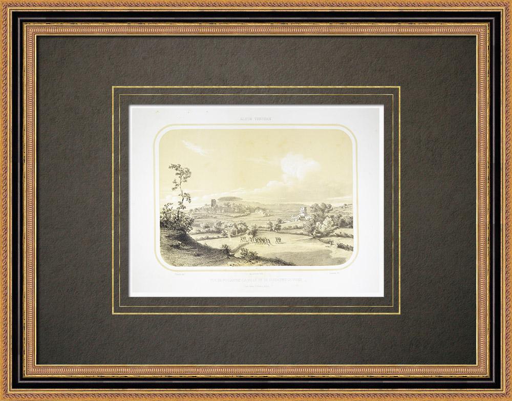 Gravures Anciennes & Dessins | Vue de Pouzauges - Vendée (France) | Lithographie | 1860