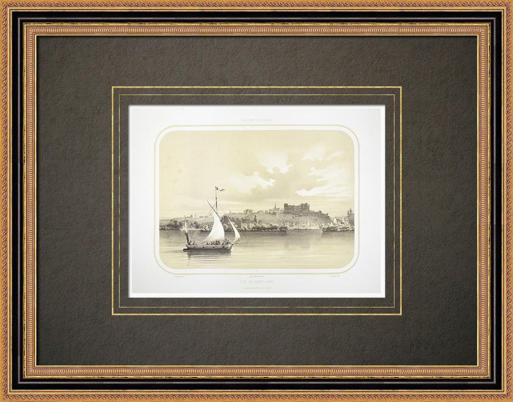 Gravuras Antigas & Desenhos | Vista de Montjean - Loire - Maine-et-Loire (França) | Litografia | 1860