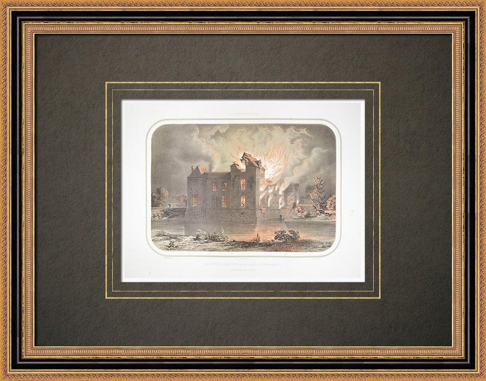 Antika Tryck & Ritningar | Slott Durbelière - La Rochejaquelin - Deux-Sèvres (Frankrike) | Litografi | 1860