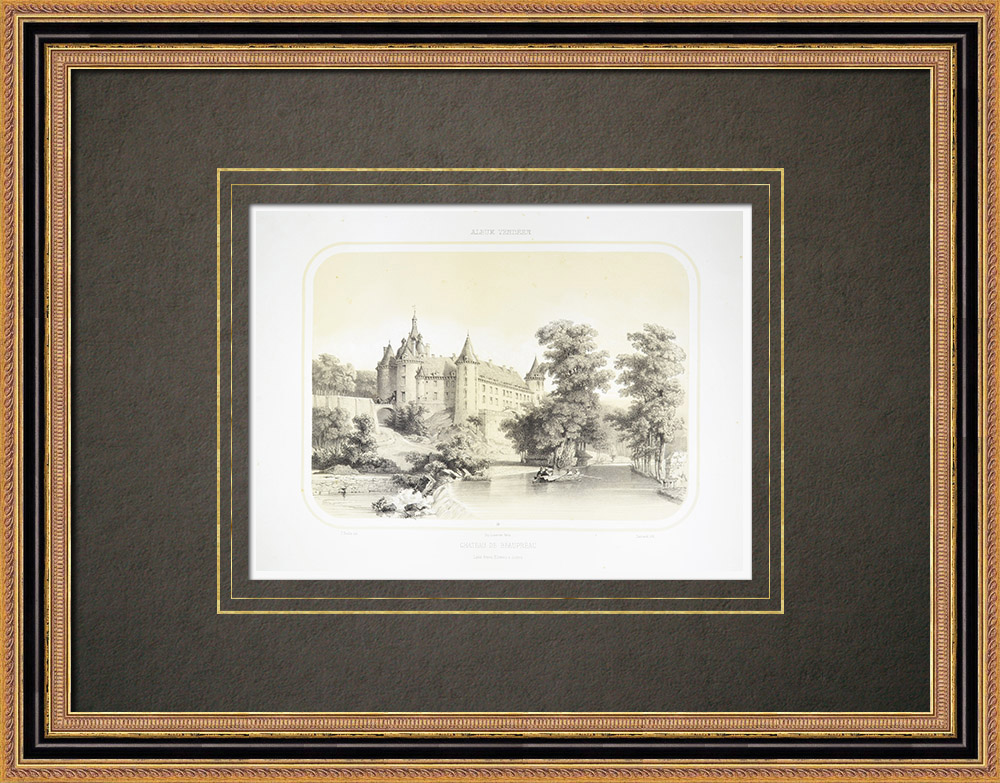 Antique Print & Etching | Schloss von Beaupréau - Anjou - Maine-et-Loire (Frankreich) | Lithografie | 1860