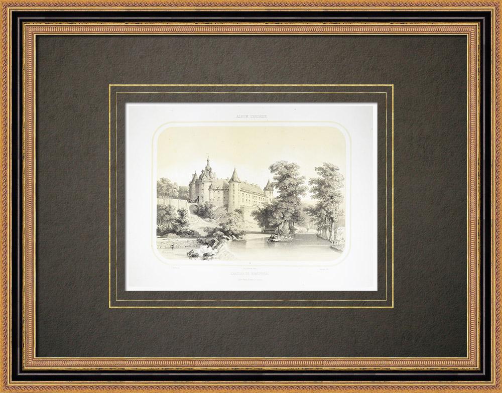 Oude Prenten & Tekeningen | Kasteel Beaupréau - Anjou - Maine-et-loire (Frankrijk) | Lithografie | 1860