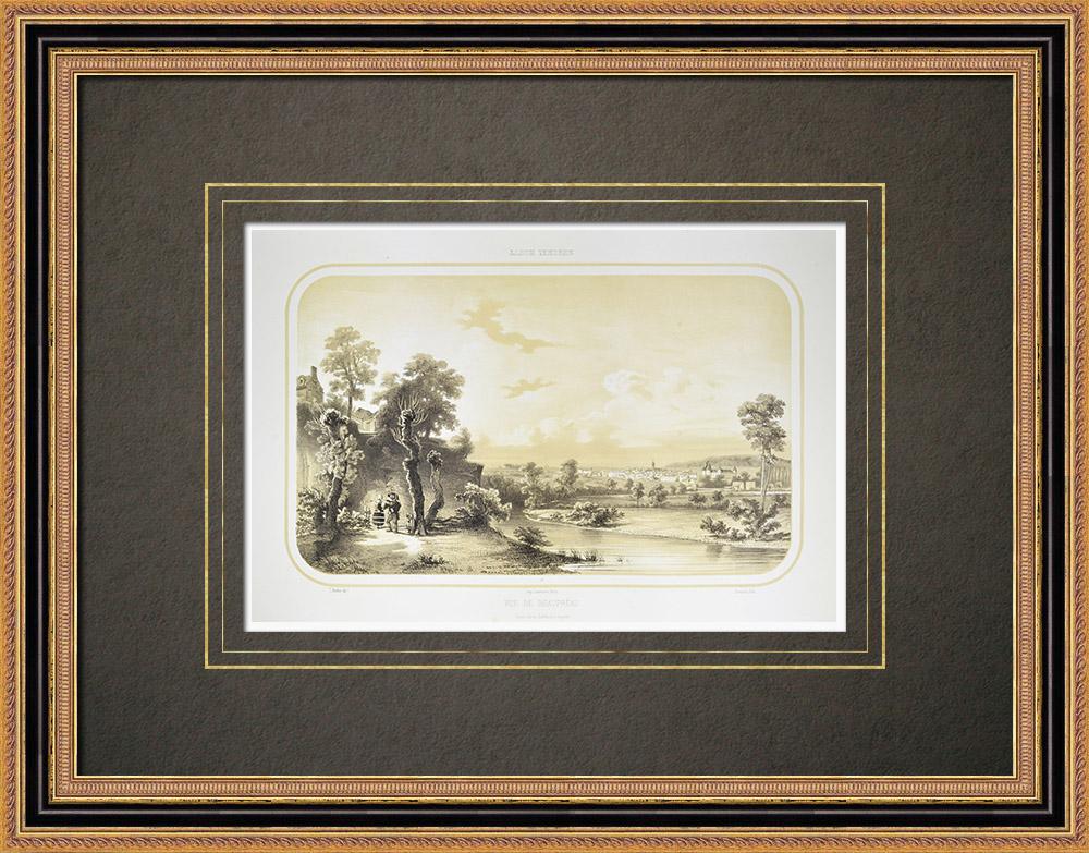 Gravures Anciennes & Dessins | Vue de Beaupréau - Èvre - Maine-et-Loire (France) | Lithographie | 1860