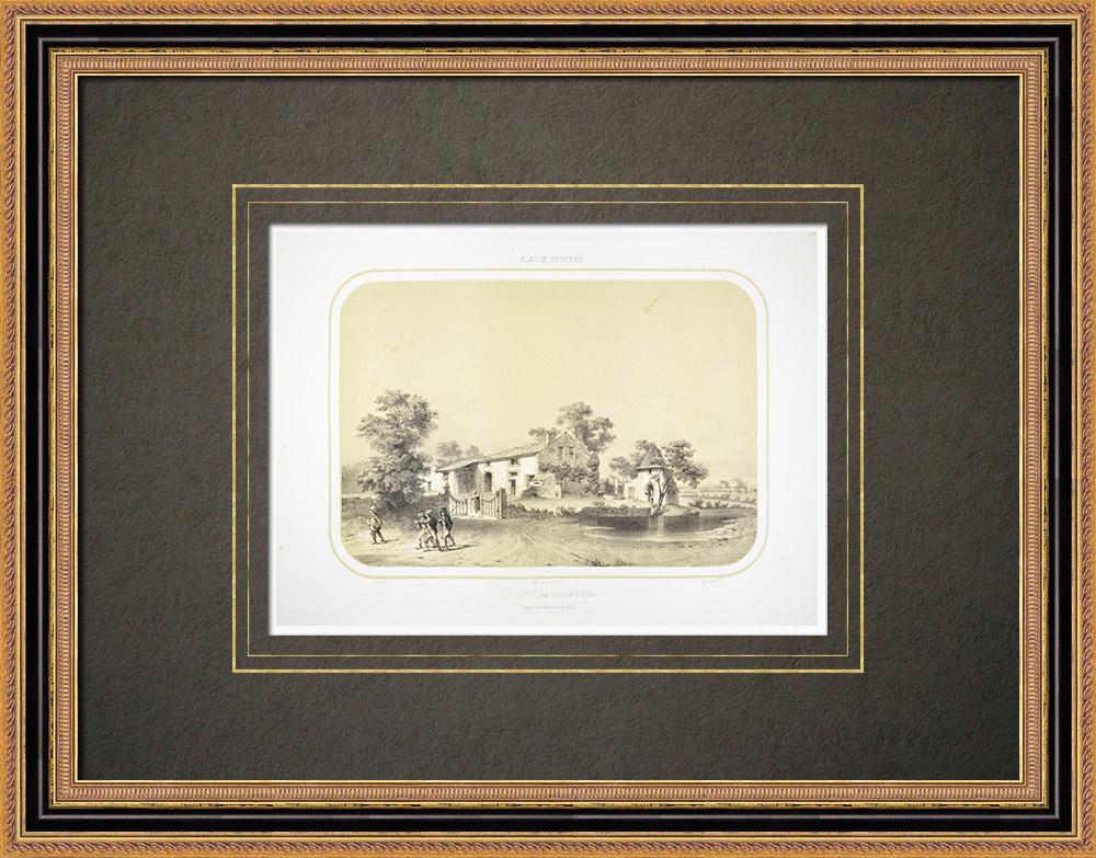 Oude Prenten & Tekeningen | La Loge, het Huis van Generaal D'elbée in de Buurt van Beaupréau - Maine-et-Loire (Frankrijk) | Lithografie | 1860