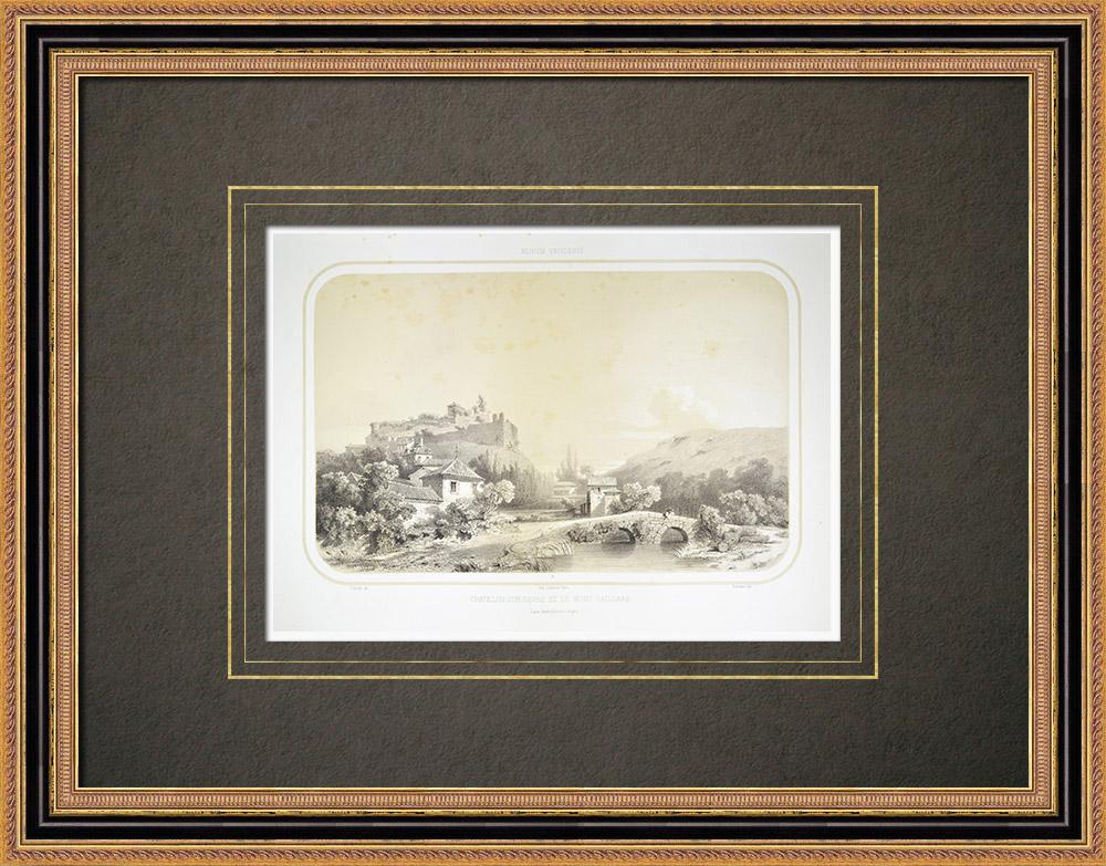 Gravures Anciennes & Dessins   Vue de Châtillon-sur-Sèvre - Mauléon - Mont Gaillard - Deux-Sèvres (France)   Lithographie   1860