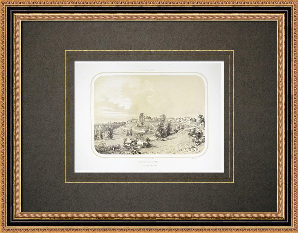 Oude Prenten & Tekeningen | Gezicht op Mouchamps - Pays de la Loire - Vendée (Frankrijk) | Lithografie | 1860