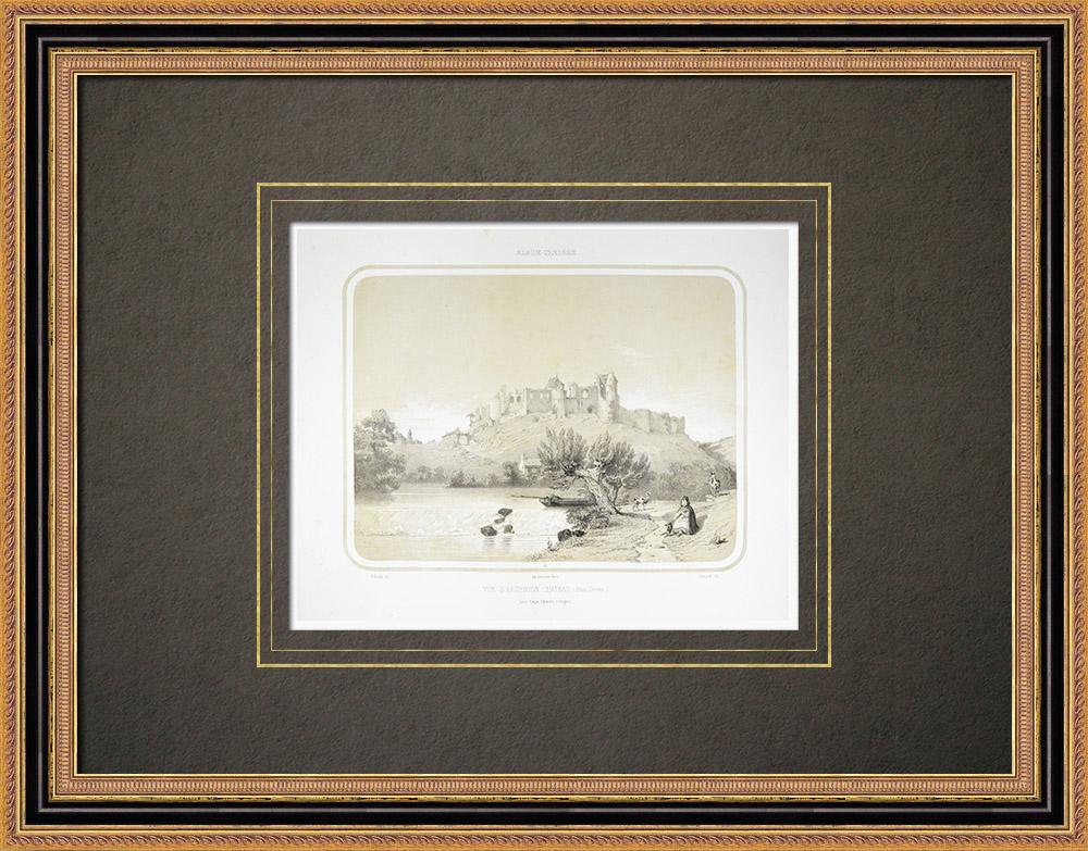 Antique Prints & Drawings | View of Argenton-Château - Deux-Sèvres (France) | Lithography | 1860