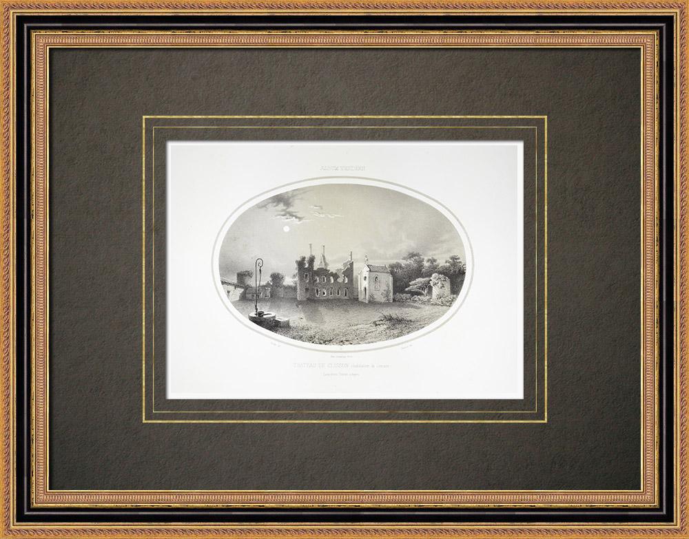 Grabados & Dibujos Antiguos | Castillo de Clisson al atardecer - Loira Atlántico (Francia) | Litografía | 1860