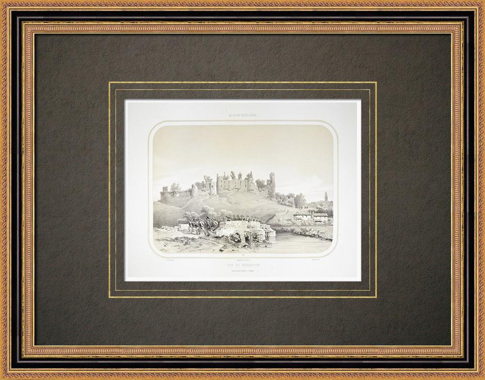 Gravures Anciennes & Dessins | Vue de Bressuire - Château - Deux-Sèvres (France) | Lithographie | 1860