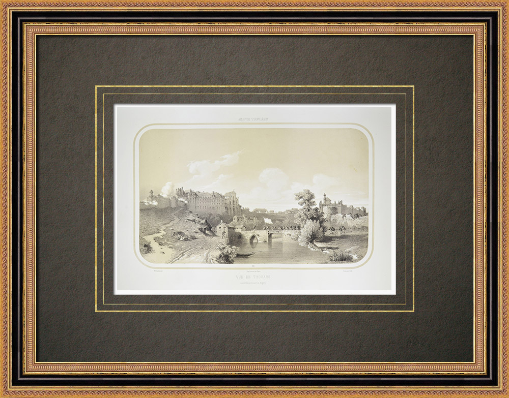 Antique Prints & Drawings | View of Thouars - Castle of the Dukes of La Tremoille - Deux-Sèvres (France) | Lithography | 1860