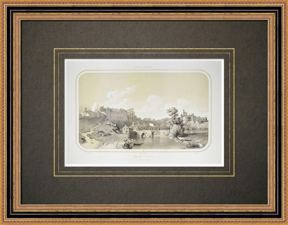 Grabados & Dibujos Antiguos | Vista de Thouars - Castillo de los duques de La Trémoille - Deux-Sèvres (Francia) | Litografía | 1860