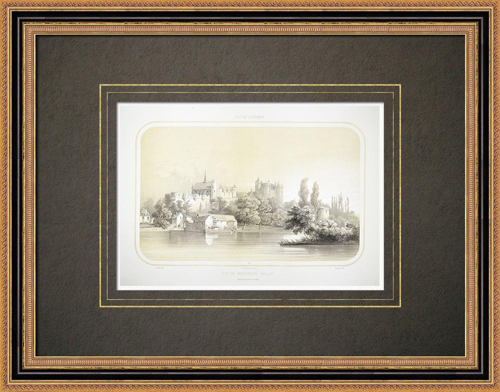 Gravures Anciennes & Dessins | Vue de Montreuil-Bellay - Anjou - Maine-et-Loire (France) | Lithographie | 1860