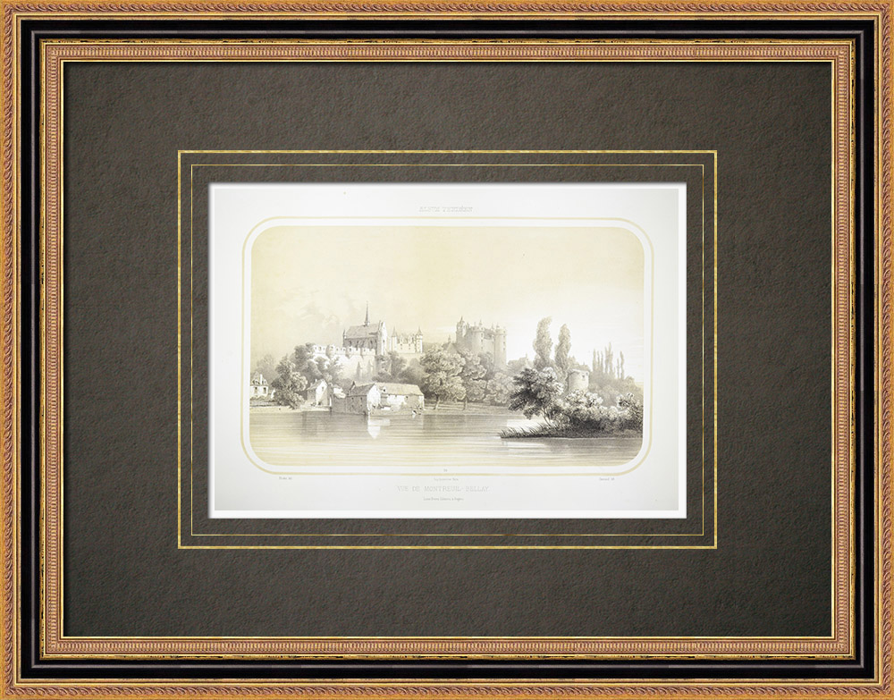Antika Tryck & Ritningar | Vy över Montreuil-Bellay - Anjou - Maine-et-Loire (Frankrike) | Litografi | 1860