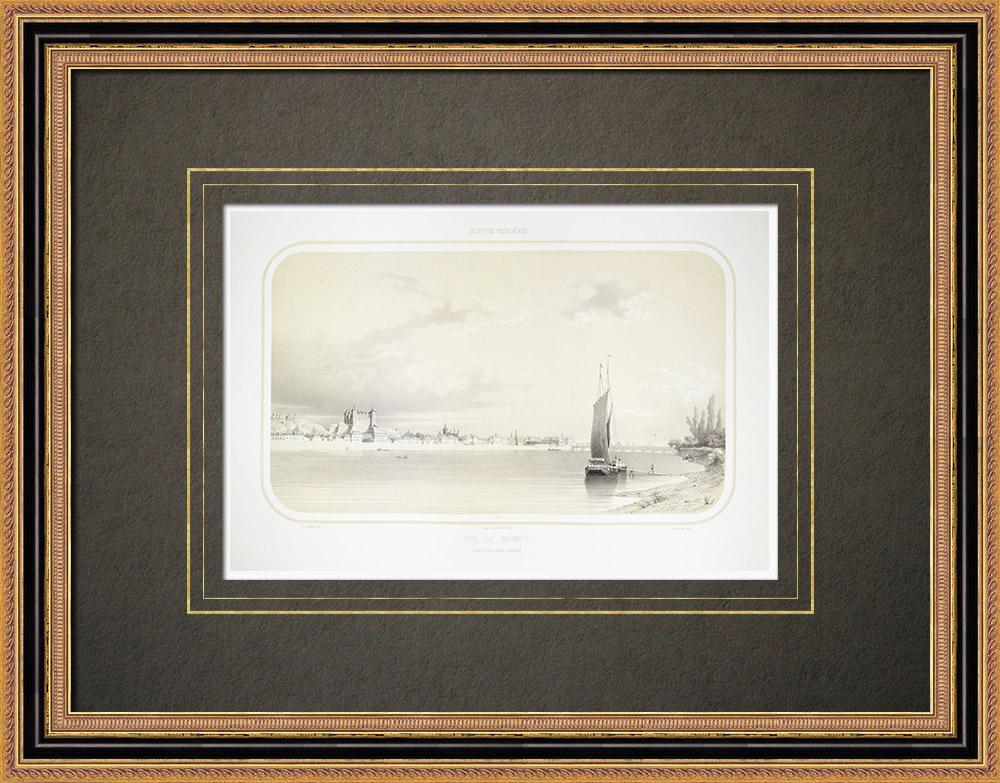 Stare Grafiki & Rysunki | Widok Saumur - Zamek - Loara - Maine-et-loire (Francja) | Litografia | 1860