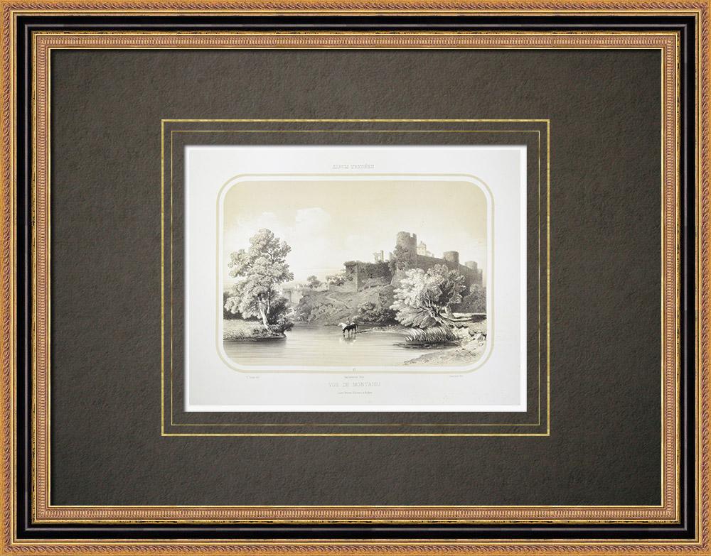 Antique Prints & Drawings | View of Montaigu - Castle - Vendée (France) | Lithography | 1860