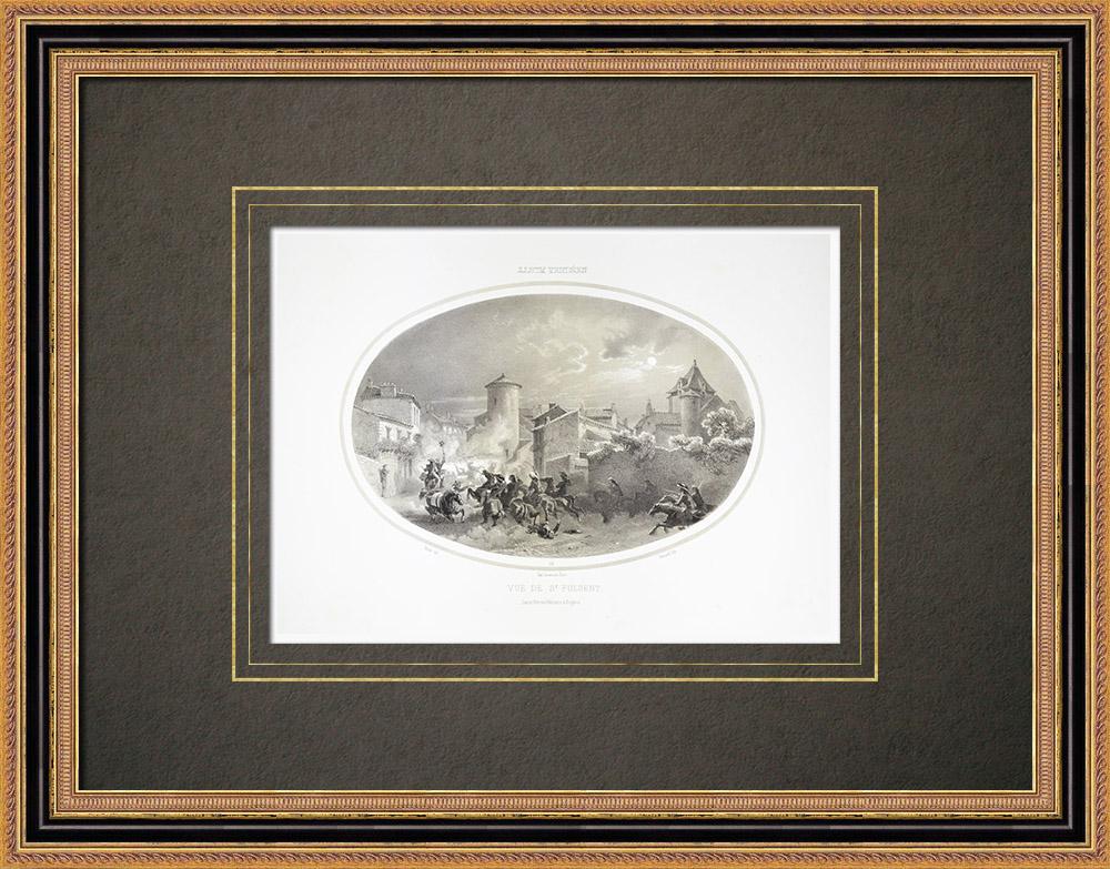 Stare Grafiki & Rysunki | Bitwa pod Saint-fulgent - Wojna w Wandei - Zamek - Wandea (Francja) | Litografia | 1860