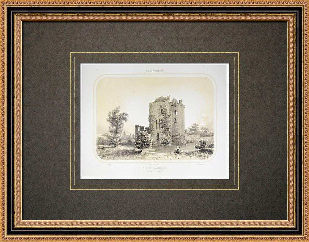 Gravures Anciennes & Dessins   Vue de Machecoul et ruines du château - Loire-Atlantique (France)   Lithographie   1860