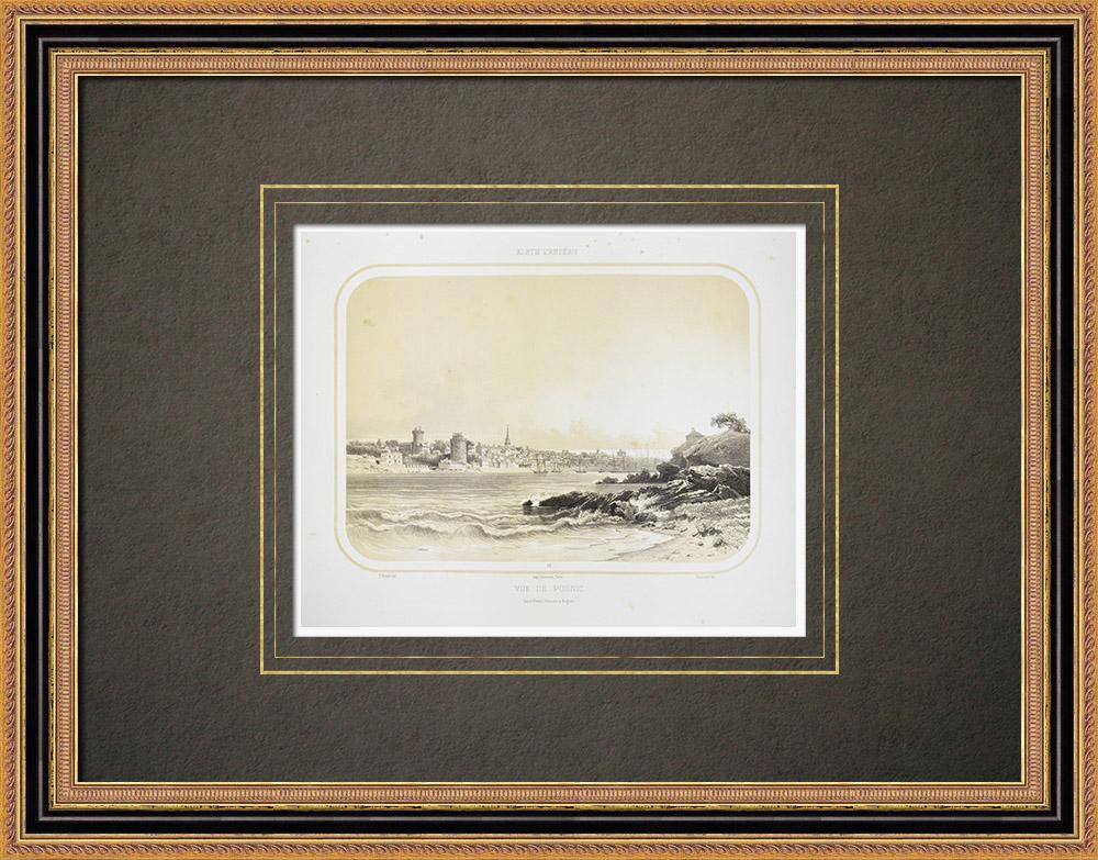 Antika Tryck & Ritningar | Vy över Pornic - Slott - Loire-Atlantique (Frankrike) | Litografi | 1860