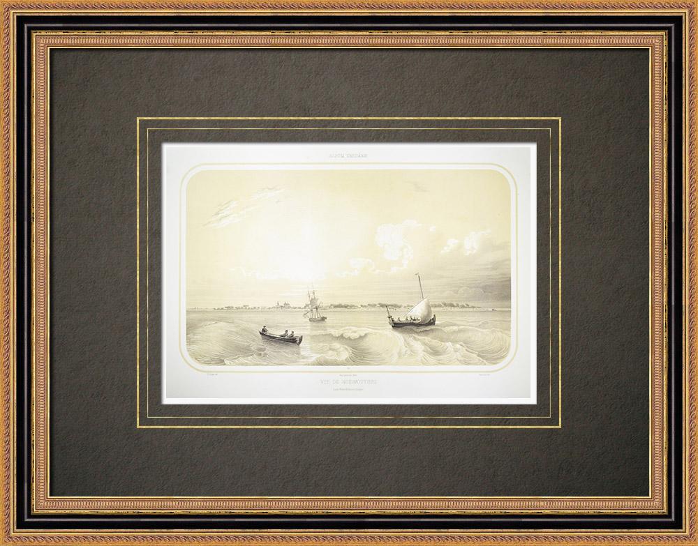 Oude Prenten & Tekeningen | Gezicht op Noirmoutier - Baai van Biscay - Vendée (Frankrijk) | Lithografie | 1860