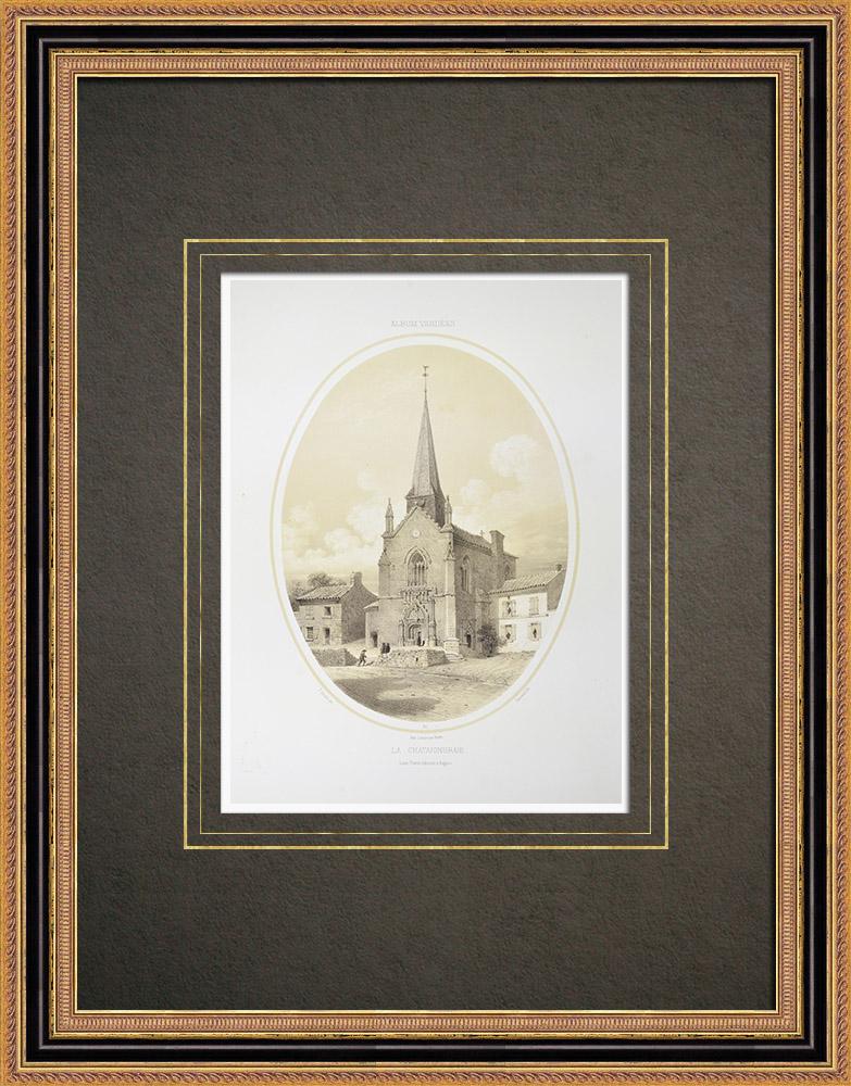 Stare Grafiki & Rysunki | Kościół z la Châtaigneraie - Wandea (Francja) | Litografia | 1860