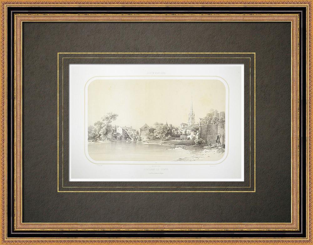 Oude Prenten & Tekeningen | Gezicht op Fontenay-le-comte - Pays de la Loire - Vendée (Frankrijk) | Lithografie | 1860