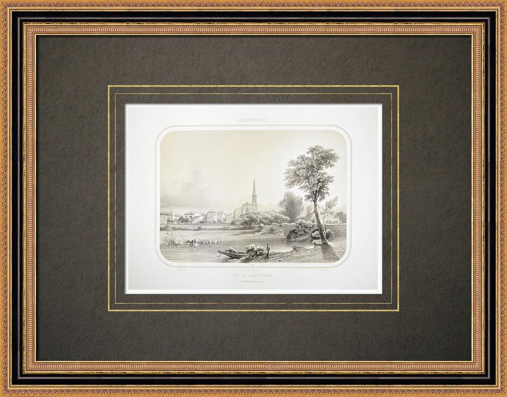 Grabados & Dibujos Antiguos | Vista de Chantonnay - Pays de la Loire - Vandea (Francia) | Litografía | 1860
