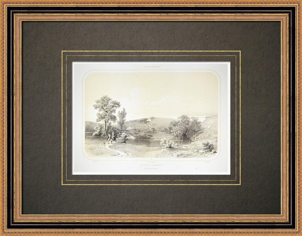 Antique Print & Etching | Pont Charron über den Grand-Lay - Vendée (Frankreich) | Lithografie | 1860
