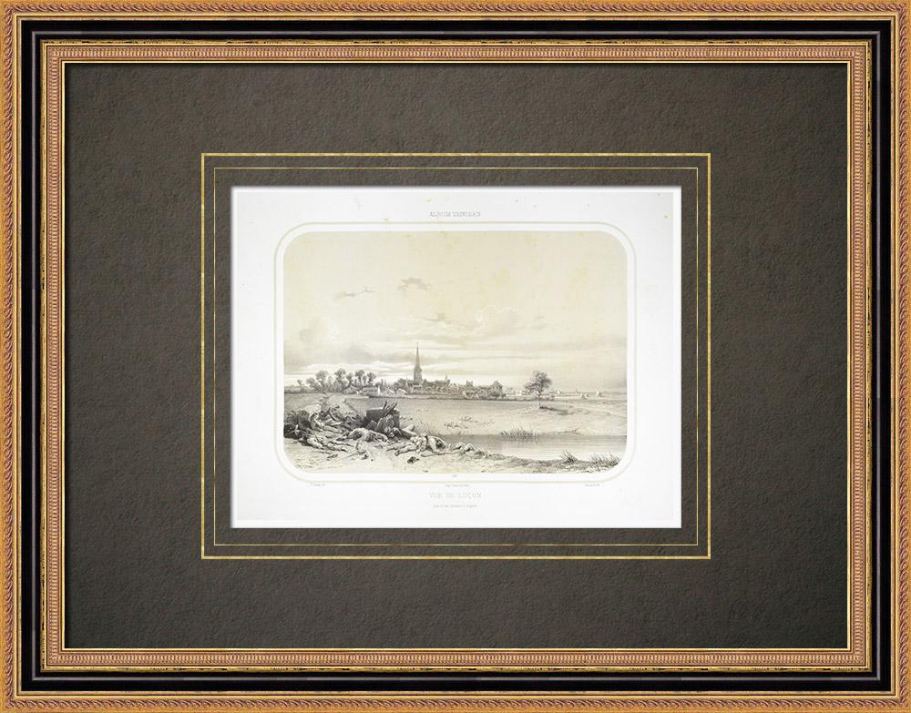 Gravuras Antigas & Desenhos | Vista de Luçon - Pays de la Loire - Vendéia (França) | Litografia | 1860