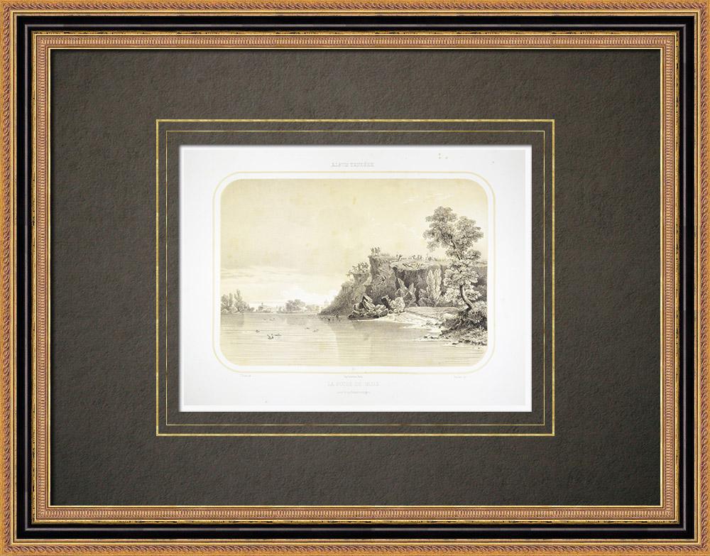 Grabados & Dibujos Antiguos | Vista de La Roche-de-Mûrs - Loire - Maine-et-Loire (Francia) | Litografía | 1860