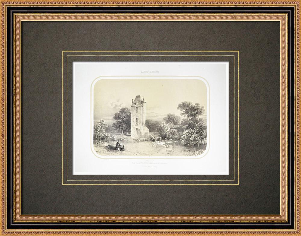 Oude Prenten & Tekeningen | Kasteel - la Baronnière - Charles de Bonchamps - Maine-et-loire (Frankrijk) | Lithografie | 1860
