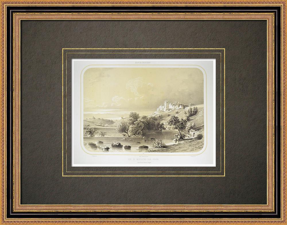 Antika Tryck & Ritningar | Vy över Mortagne-sur-Sèvre - Sèvre Nantaise - Vendée (Frankrike) | Litografi | 1860