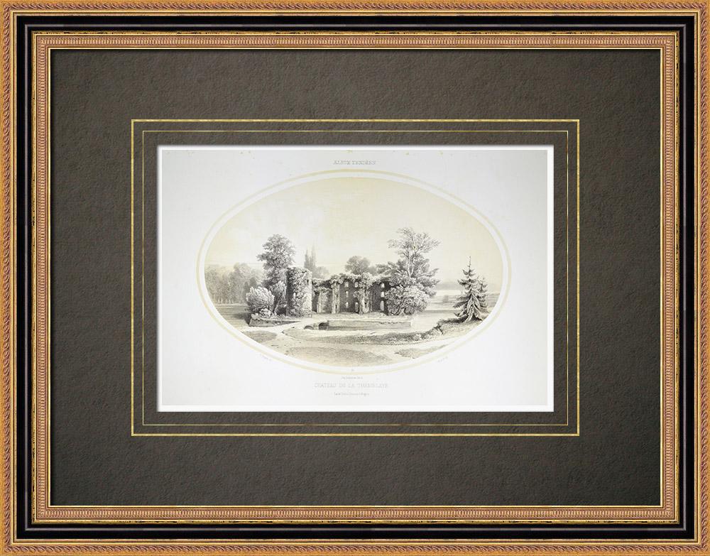 Oude Prenten & Tekeningen   Kasteel la Tremblaye in Cholet - Maine-et-loire (Frankrijk)   Lithografie   1860