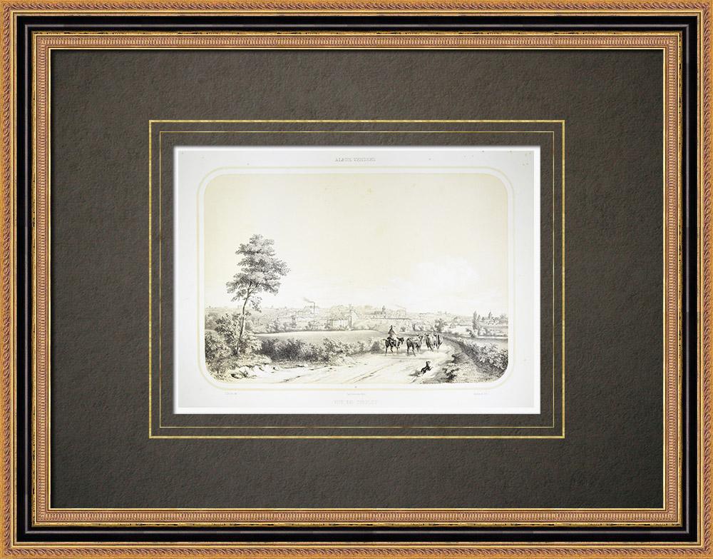 Antique Prints & Drawings | View of Cholet - Pays de la Loire - Maine-et-Loire (France) | Lithography | 1860