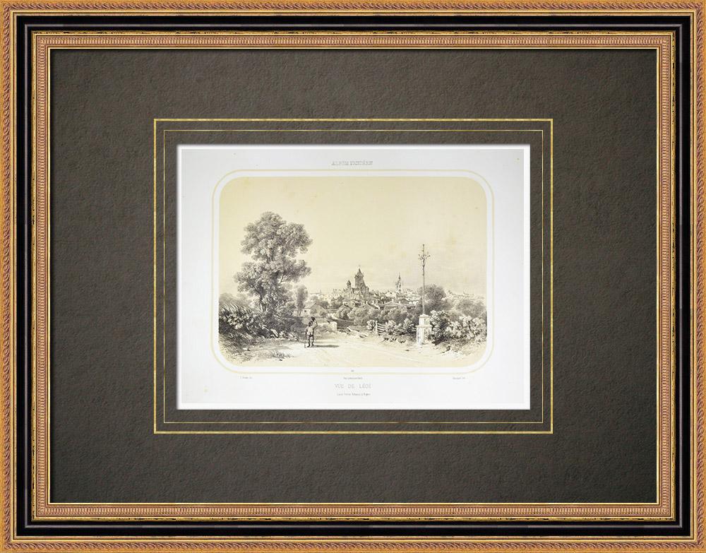 Grabados & Dibujos Antiguos | Vista de Legé - Pays de la Loire - Loira Atlántico (Francia) | Litografía | 1860