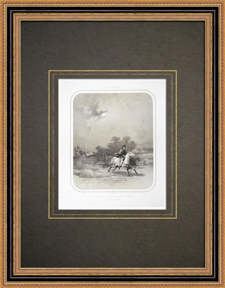 Antique Print & Etching   Jean-Baptiste Joly - Schlacht Les Quatre-Chemins - Vendée (Frankreich)   Lithografie   1860