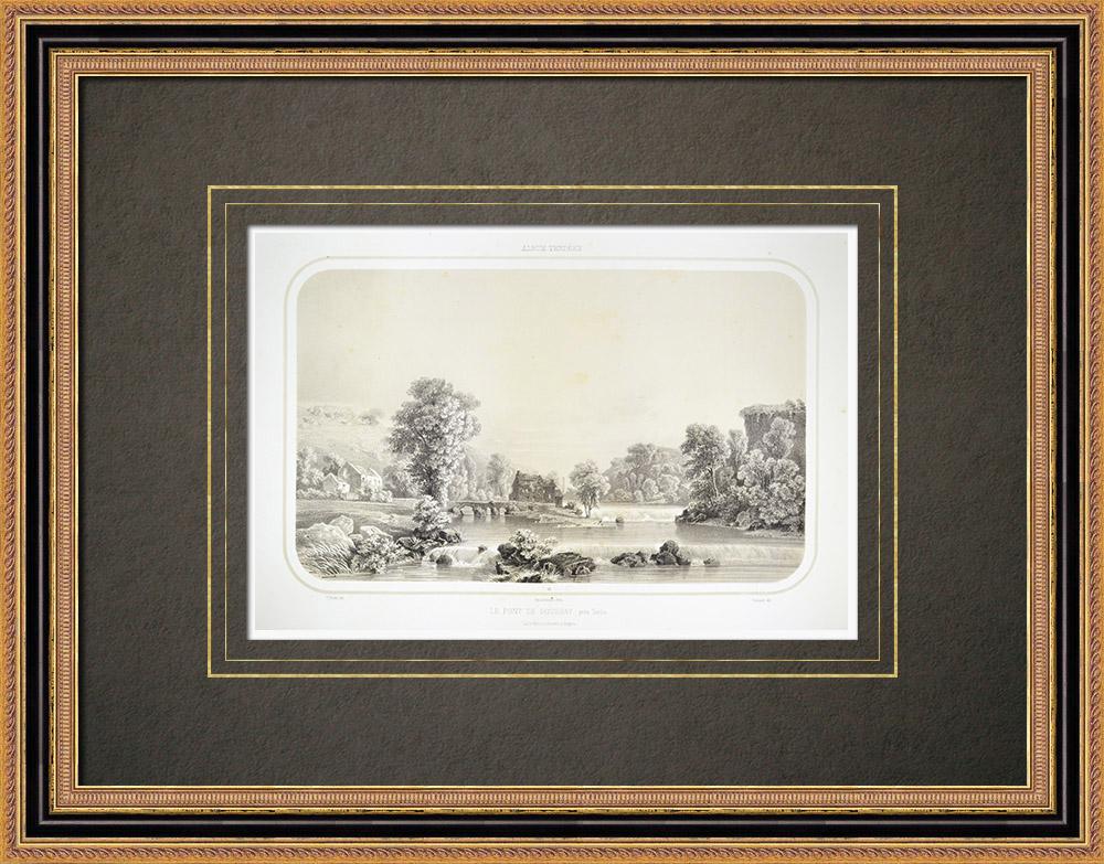 Grabados & Dibujos Antiguos | Puente Boussay cerca de Torfou - Maine-et-Loire (Francia) | Litografía | 1860