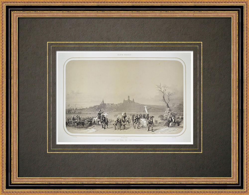Oude Prenten & Tekeningen | Saint-florent-le-vieil in 1793 - Oorlog in de Vendée - Maine-et-loire (Frankrijk) | Lithografie | 1860