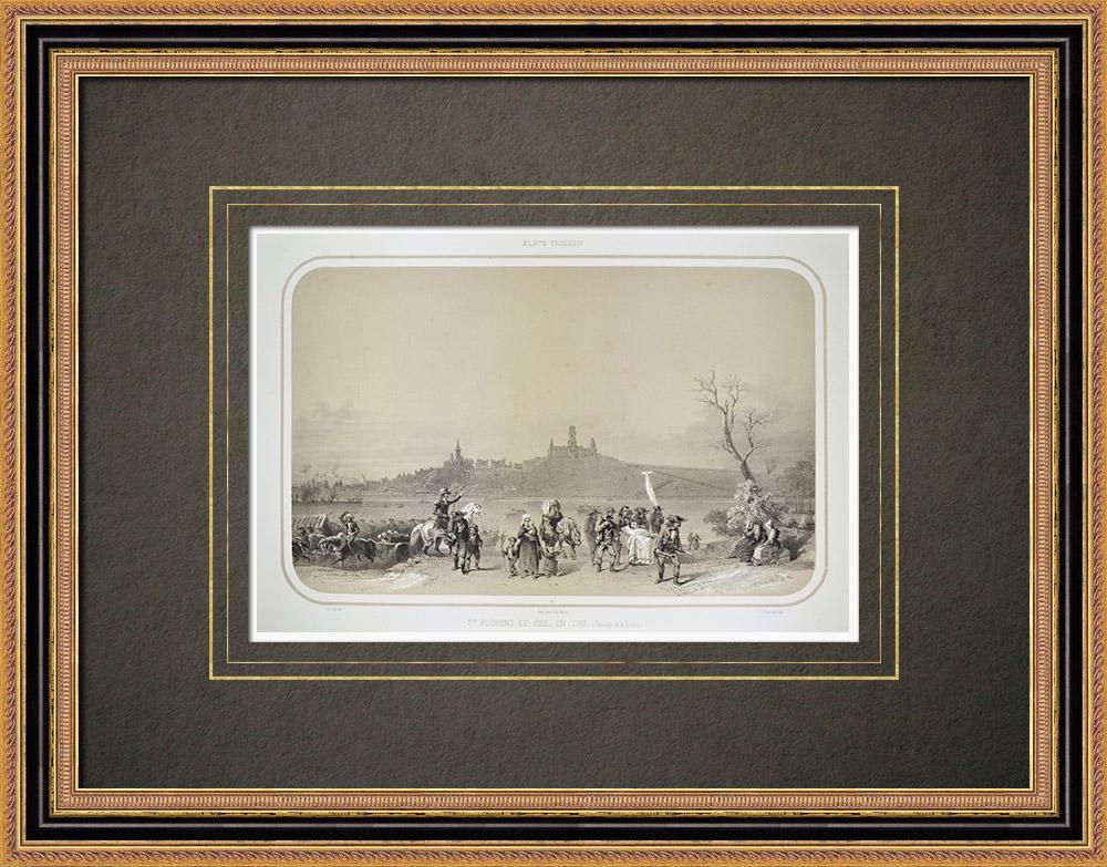 Grabados & Dibujos Antiguos | Saint-Florent-le-Vieil en 1793 - Guerra de Vandea - Maine-et-Loire (Francia) | Litografía | 1860