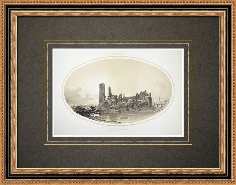 Antika Tryck & Ritningar | Vy över Champtocé-sur-Loire - Pays de la Loire - Maine-et-Loire (Frankrike) | Litografi | 1860