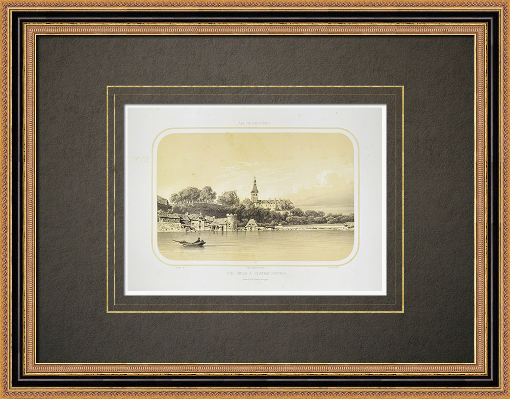 Oude Prenten & Tekeningen | Gezicht op Château-gontier - Pays de la Loire - Mayenne (Frankrijk) | Lithografie | 1860