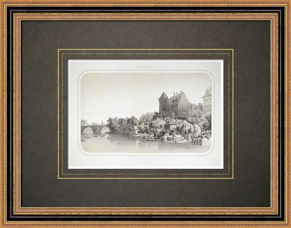 Gravuras Antigas & Desenhos   Vista de Laval - Pays de la Loire - Mayenne (França)   Litografia   1860
